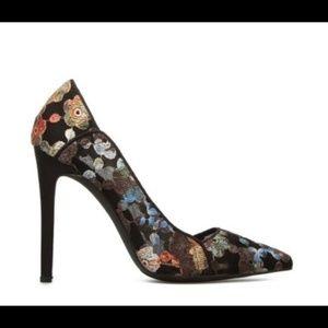 Floral Black Heels Madison by Shoe Dazzle